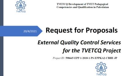 Call for Tender – External Quality Control Services (Erasmus+ TVETCQ Palestine)